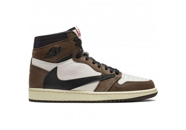 Кроссовки Nike Air Jordan 1 Retro коричневые с белым
