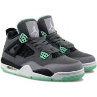 Кроссовки Nike Air Jordan 4 Retro серые с салатовым