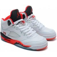 Кроссовки Nike Air Jordan 5 Fire белые с красным