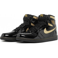 Nike Air Jordan 1 Retro Black Metallic Gold черные с золотым