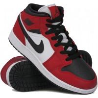 Nike Air Jordan 1 Mid Chicago черные с красным