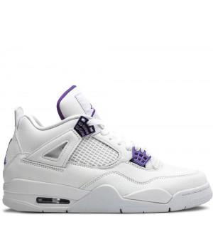 Кроссовки Nike Air Jordan 4 Retro белые с фиолетовым