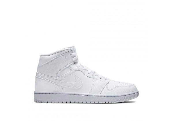 Кроссовки Air Jordan 1 Mid Triple моно белые