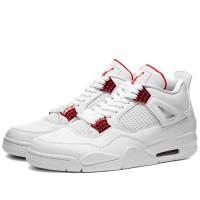 Кроссовки Nike Air Jordan 4 Retro белые с красным