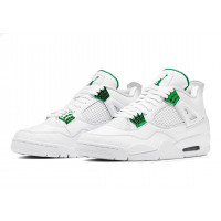 Кроссовки Nike Air Jordan 4 Retro белые с зеленым