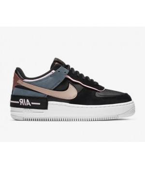 Кроссовки Nike Air Force черные с оранжевым