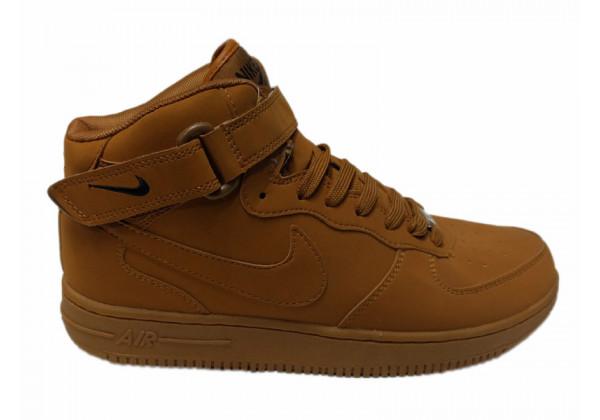 Кроссовки зимние Nike Air Force 1 Mid на меху песочные