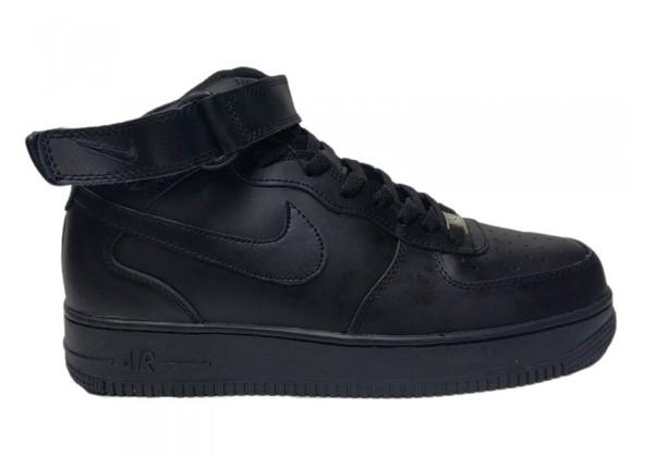 Nike кроссовки Air Force 1 Mid на меху черные