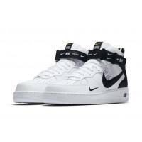 Кроссовки зимние Nike Air Force 1 Mid 07 LV8 Utility с мехом белые с черным