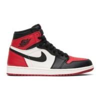 Кроссовки зимние Nike Air Jordan 1 с мехом красно-черные с белым