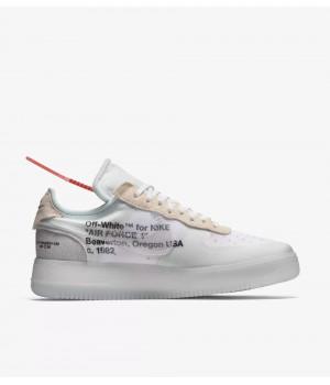Nike Air Force 1 x Off White бело-серые с бежевым