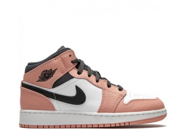 Nike Air Jordan 1 Mid бежевый с черным