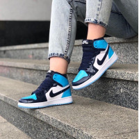 Кроссовки Air Jordan 1 Retro черные с голубым