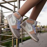 Nike кроссовки Air Jordan 1 Mid Milan белые с бежевым