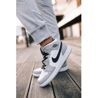 Nike кроссовки Air Jordan 1 (Найк Джордан) серо-белый