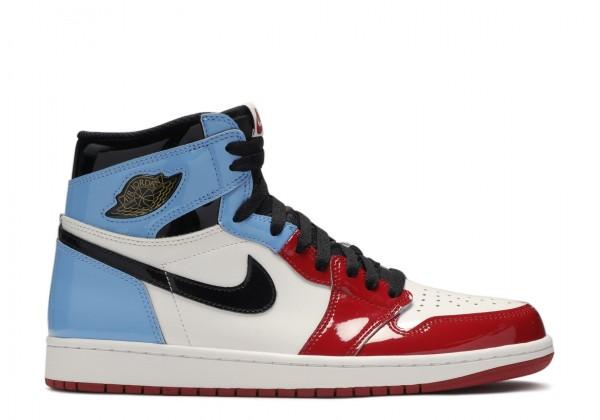 Кроссовки Air Jordan 1 High OG 'Fearless' голубые с красным