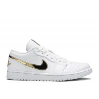 Кроссовки Air Jordan 1 белые с золотым