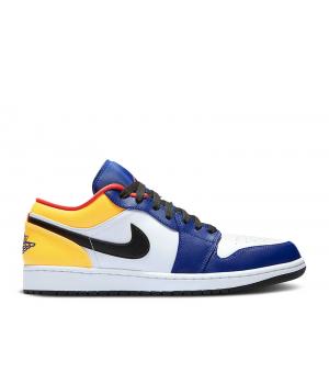 Кроссовки Air Jordan 1 Low синие с желтым