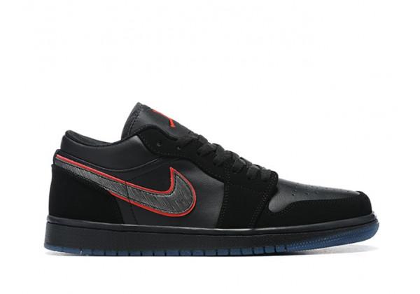 """Nike кроссовки Air Jordan 1 Low """"Red Orbit"""" черные"""