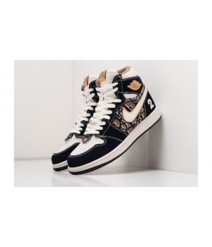 Dior X Nike Air Jordan 1 черные с коричневым