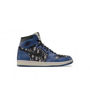 Dior X Nike Air Jordan 1 синие
