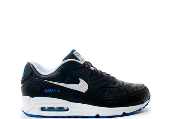 Кроссовки Nike Air Max 90 Leather Black/White/Hyper Cobalt